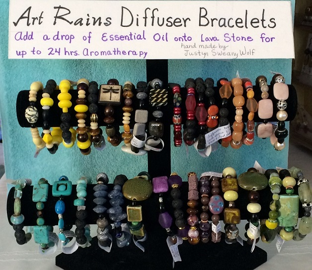 Diffuser Bracelets! These bracelets will give up to 24 hours of aromatherapy when you add your essential oil onto the lava stones in the bracelet.  Art Rains Jewelry