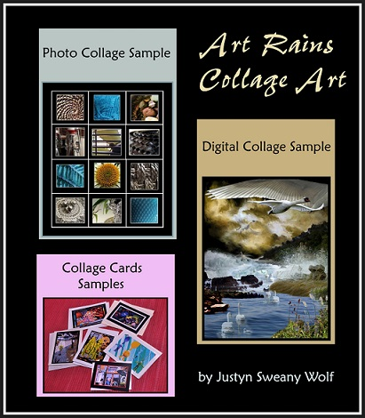 Samples of digital and photo collage images by Justyn Sweany Wolf, as well as samples of collage work on note cards. Art Rains Collage